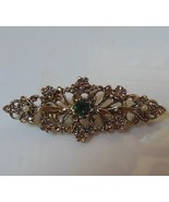 Signed Jerry's Gold -tone Victorian Style Rhinestone Faux Pearl Brooch - $18.80