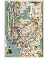 """1939 NYC New York Subway Map 16""""x23"""" Elevated Routes Wall Art Poster Pri... - $16.34"""