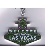 Welcome to Fabulous Las Vegas Sign Christmas Tree Ornament Green Glitter - $5.99