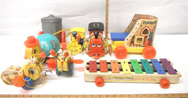 8 pc Vintage Fisher Price USA Toys Train Pull Tune Toot Toot Huffy Puffy Queen - $56.09