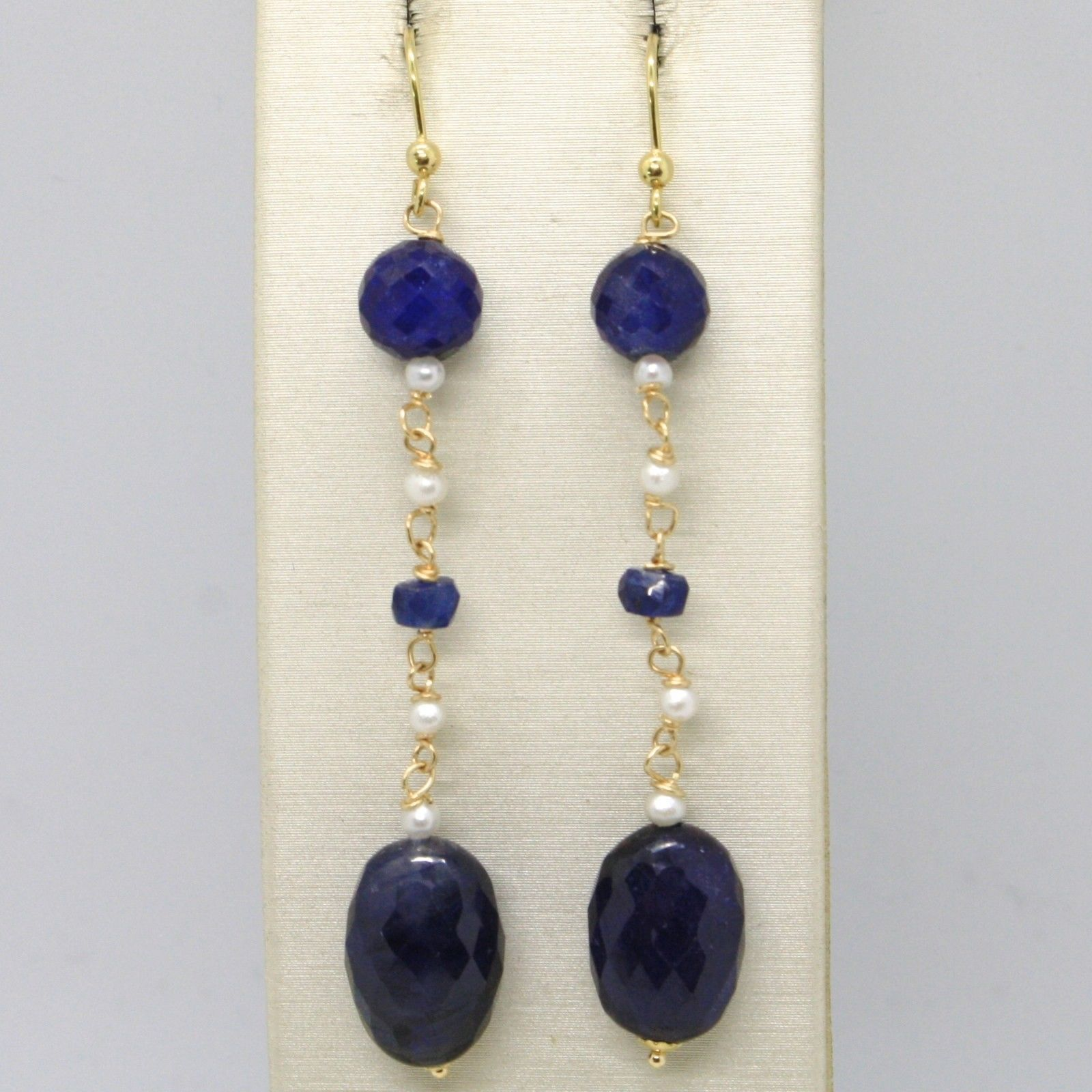18K YELLOW GOLD PENDANT EARRINGS, OVAL FACETED SAPPHIRE & PEARL, MADE IN ITALY