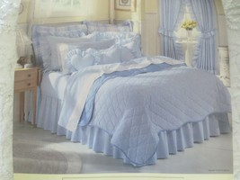 NIP REVERSIBLE KING Blue Gingham Check/Solid QUILT COVERLET & Matching B... - $59.35