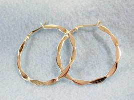 STERLING SILVER Pierced HOOP Earrings Big Textured Flat 925 LA Classic C... - $26.72