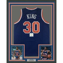 FRAMED Autographed/Signed BERNARD KING 33x42 New York Blue Jersey Becket... - €357,99 EUR