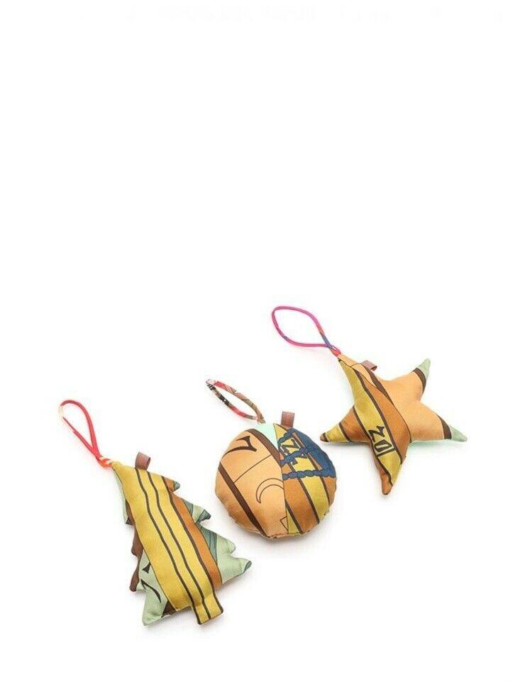 Hermes Petit ash Christmas ornament silk multi-color 3-point Auth
