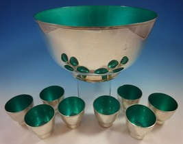 Towle Sterling Silver Punch Bowl and Cups with Turquoise Enamel (#1392) - $4,995.00
