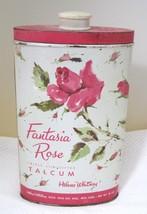 Vintage Fantasia Rose Talcum Tin Helen Whitney 10 oz Metal Litho T84 - $24.26