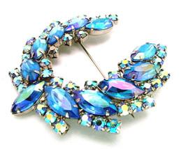 Juliana D&E Brooch Blue AB Aurora Borealis Rhinestone Horseshoe Wreath Pin - $49.95