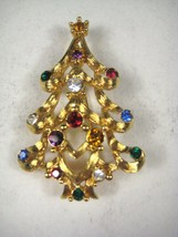Monet Christmas Brooch 2 1/8 inch Goldtone X-mas Tree Pin Metal Rhinestone - $29.69