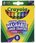 Crayola Washable Crayons, Large, 8 Colors - 2 Packs - $8.50