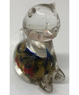 GLASS CAT Murano Style PAPERWEIGHT Fish Bowl with Goldfish painted - $37.39