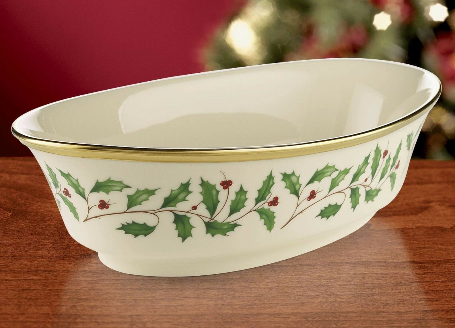 """LENOX HOLIDAY GOLD HOLLY BERRIES OVAL SERVING BOWL S 10"""" - $58.90"""