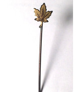 Antique Art Deco Sterling Stick Pin Maple Leaf Solid Color 1800s - 1900s - $34.60