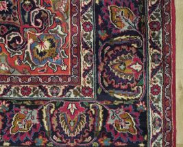 Red Wool Rug 10' x 12' Scarlet Vivid Original Traditional Persian Handmade Rug image 3