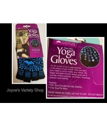 Yoga Gloves Non-Slip Finger Palm One Size Black with Blue Design - $7.99