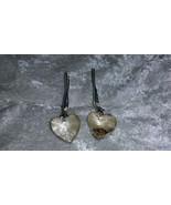 tan Crystal heart earrings pierced hook Champagne Downton Abbey - $13.50