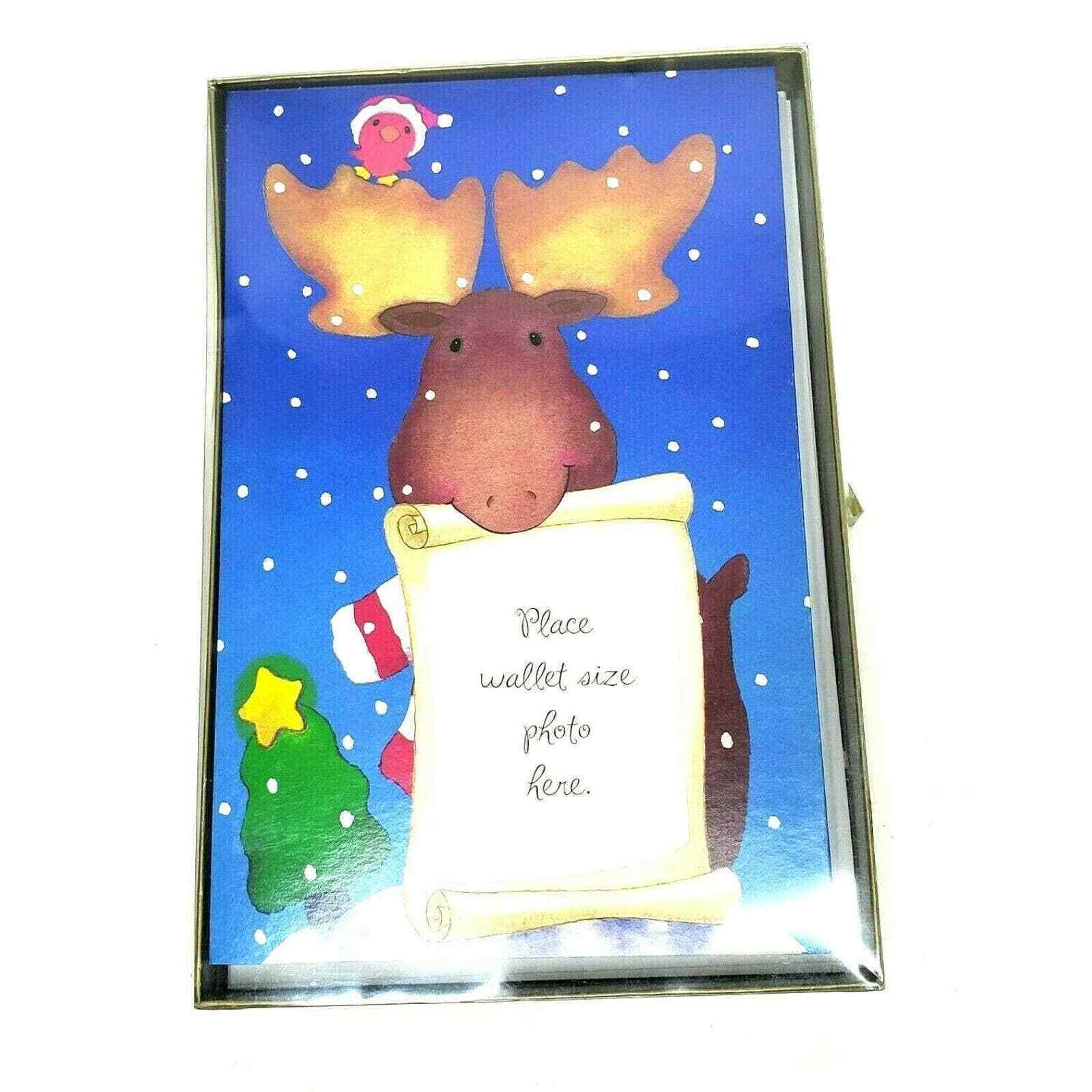 American Greetings Photo Christmas Cards Blue Reindeer 10 ct Box Kid Holiday - $9.99