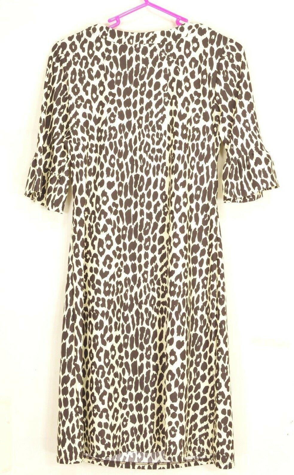 Jude Connally dress mini SZ S white with brown animal leopard print 3/4 slv USA