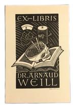 Ex Libris Exlibris Bookplate Signed Autographed Ernest Huber Dr. Arnaud ... - $49.49