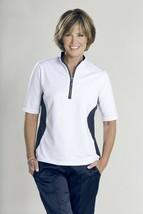 Stylish Women's Golf & Casual White & Blue Mock Polo Top, Rhinestone Zip... - $29.95