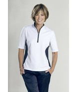 Stylish Women's Golf & Casual White & Blue Mock Polo Top, Rhinestone Zip... - $29.95
