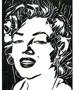 Marilyn Monroe face portrait abstract pen ink original art drawing black... - $29.99