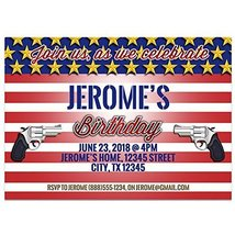 Flag Pistol Birthday Invitations - £14.24 GBP