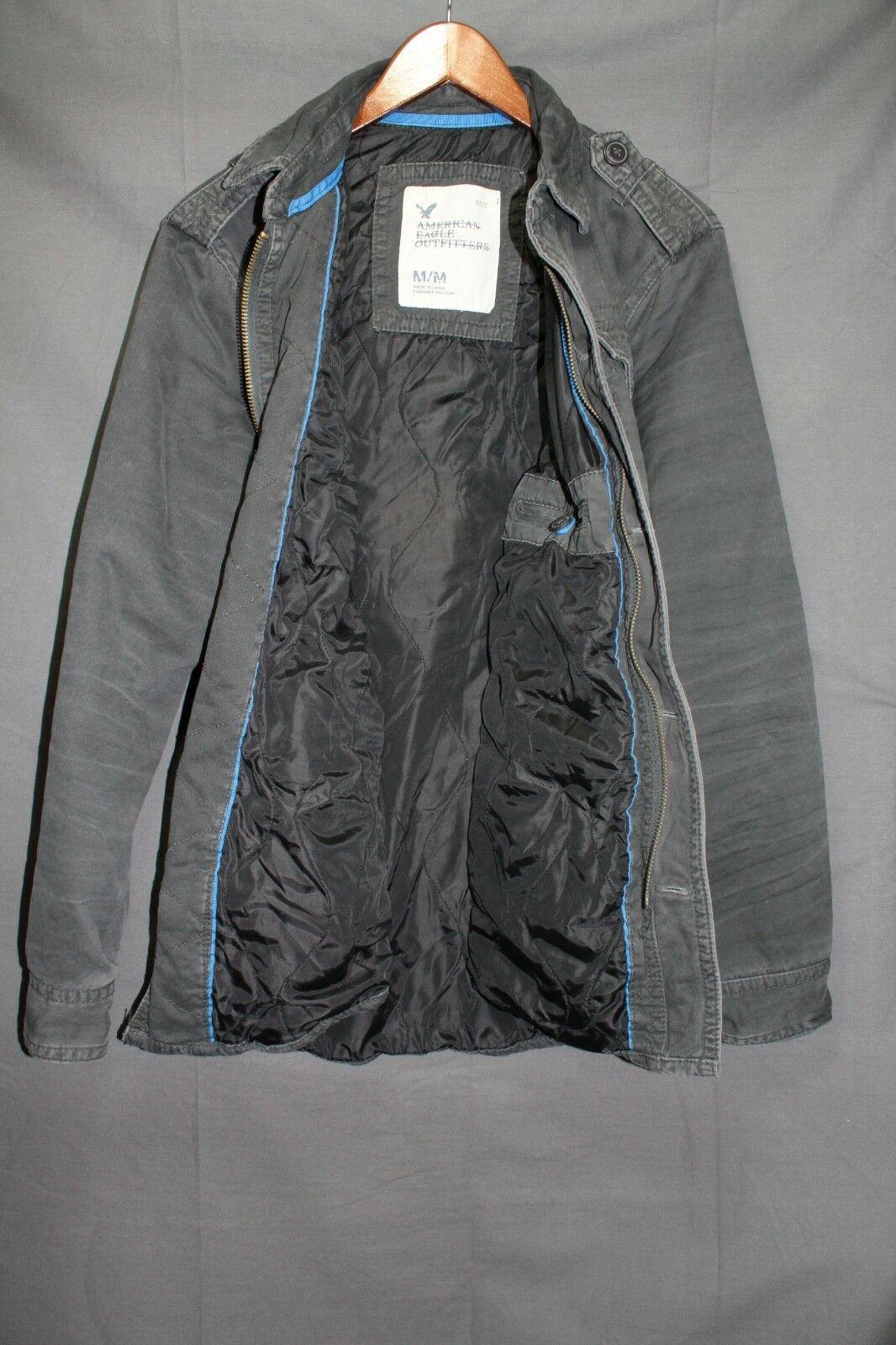 NEW Men's AE Military Field Coat Lined Shirt Jacket Twill Grey M - $99.95