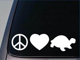 "Peace love turtle sticker H140 8"" vinyl box tortoise - $4.49"
