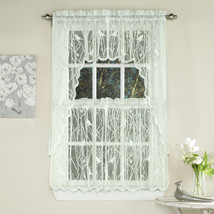 Knit Lace Bird Motif Kitchen Window Curtain Tiers, Swags or Valance Ivory - $11.49+