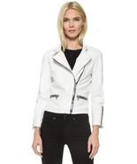 Leather Biker Jacket for Women White Pure Lambskin Size S M L XL XXL Cus... - $149.40+