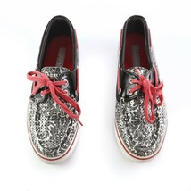 Sperry Top Sider Black Gray Floral Sequin Boat Shoes Loafers Casual Wome... - $29.61