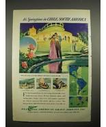 1940 Pan American Grace Airways Ad - Chile, S. America - $14.99