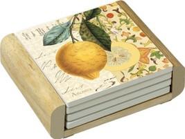 CounterArt Absorbent Coasters in Wooden Holder, Mandarin Design, Set of 4 - $19.44