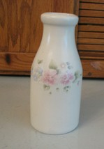 Pfaltzgraff Pottery Tea Rose Milk Bottle Vase Vintage USA Pink Roses Cream Vase - $7.91