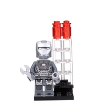 1 Pcs Super Heroes Marvel Silver Iron Man With Equipment Fit Lego Buildi... - $8.99