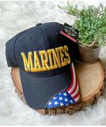 USMC US MARINE WARRIOR USA AMERICAN FLAG CAP HAT BLACK YELLOW NWT - $14.39