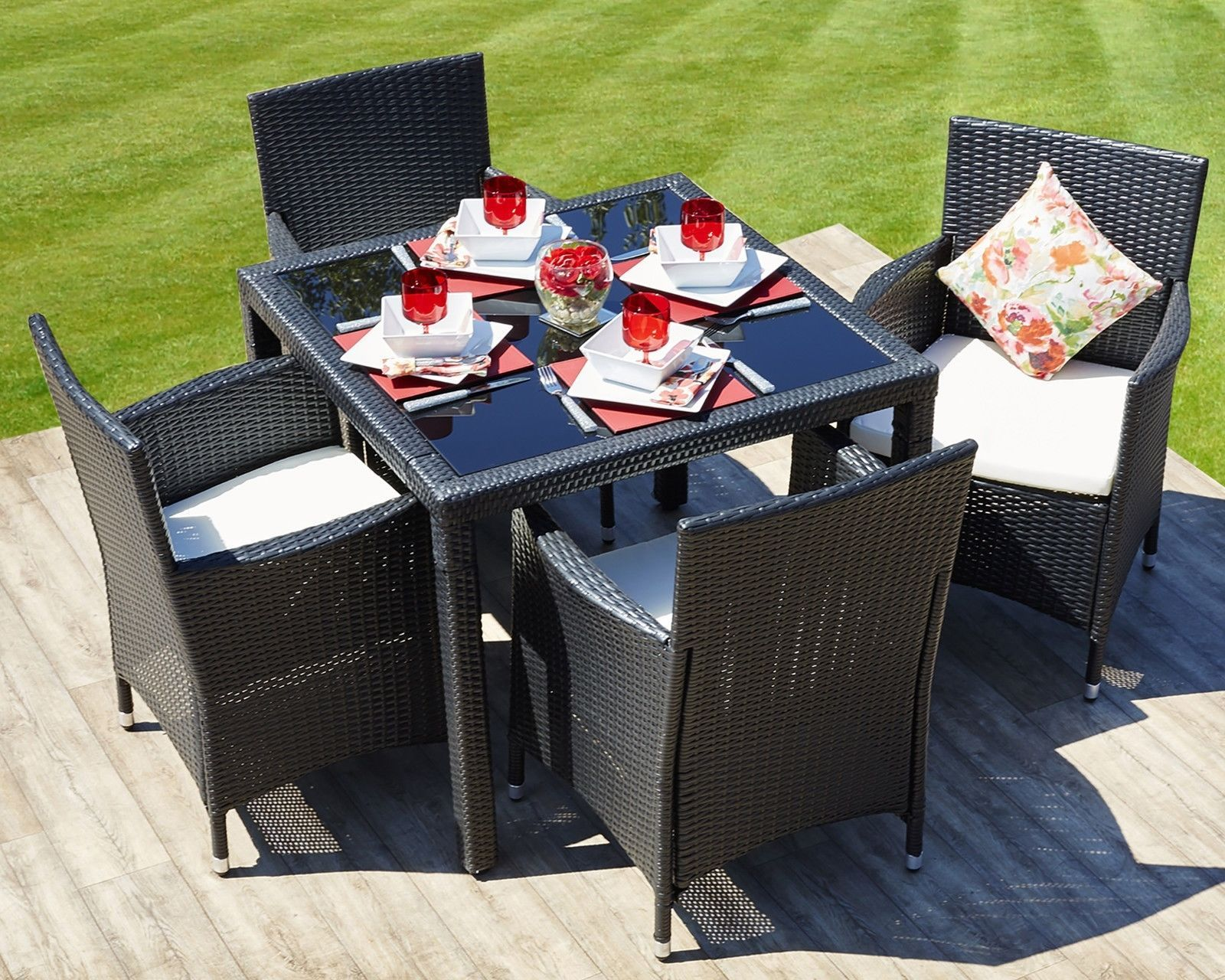 Outdoor Dining Table Set 4 Chairs Rattan Conservatory Patio Furniture Black