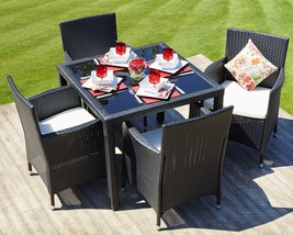 Outdoor Dining Table Set 4 Chairs Rattan Conservatory Patio Furniture Black - $330.53