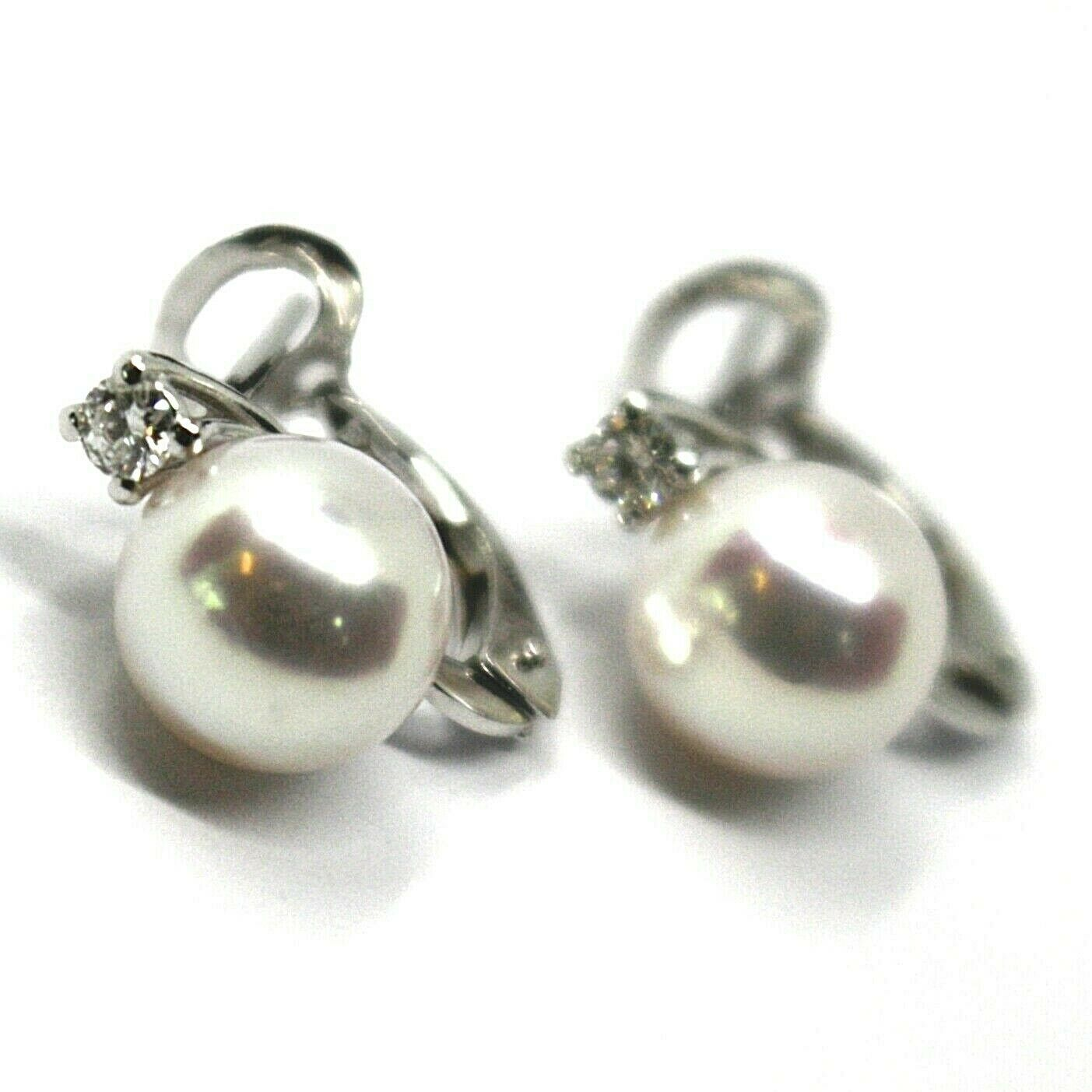 SOLID 18K WHITE GOLD CLIPS EARRINGS, SALTWATER AKOYA PEARLS 8/8.5 MM, DIAMONDS