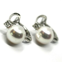 SOLID 18K WHITE GOLD CLIPS EARRINGS, SALTWATER AKOYA PEARLS 8/8.5 MM, DIAMONDS image 1