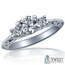 Three Stone 0.69 Ct F-SI2 Natural Diamond Engagement Ring Filigree Band ... - $1,583.01