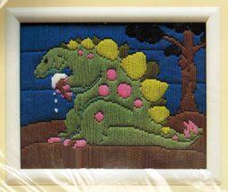 "1990 Needlepoint Plastic Canvas Stegosaurus Creative Circle Kit 8"" x 10""  - $18.99"