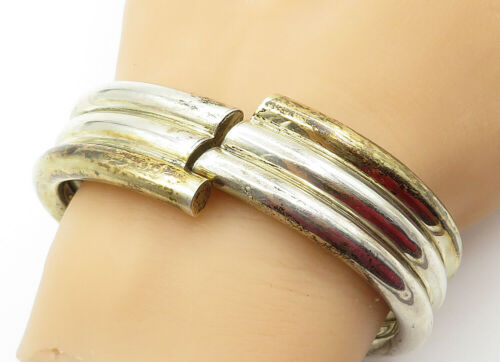 Primary image for MEXICO 925 Silver - Vintage Two Tone Ribbed Bypass Bangle Bracelet - B6403