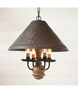 Primitive 4 Candlestick Homespun Wood Base With Punched Shade Light In Pearwood - $273.95