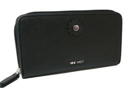 Nine West Logo Zip Around Wallet Purse Hand Bag Black Full of Sparkle Flower NWT - $39.59