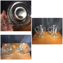 "Set of 2 Anchor Hocking Pressed Clear Glass Mugs 5"" Tall Pedestal 16 oz. - $10.99"
