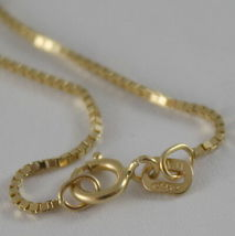 18K YELLOW GOLD CHAIN NECKLACE VENETIAN 0.9 mm LINK, 15.75 INCHES MADE IN ITALY image 3