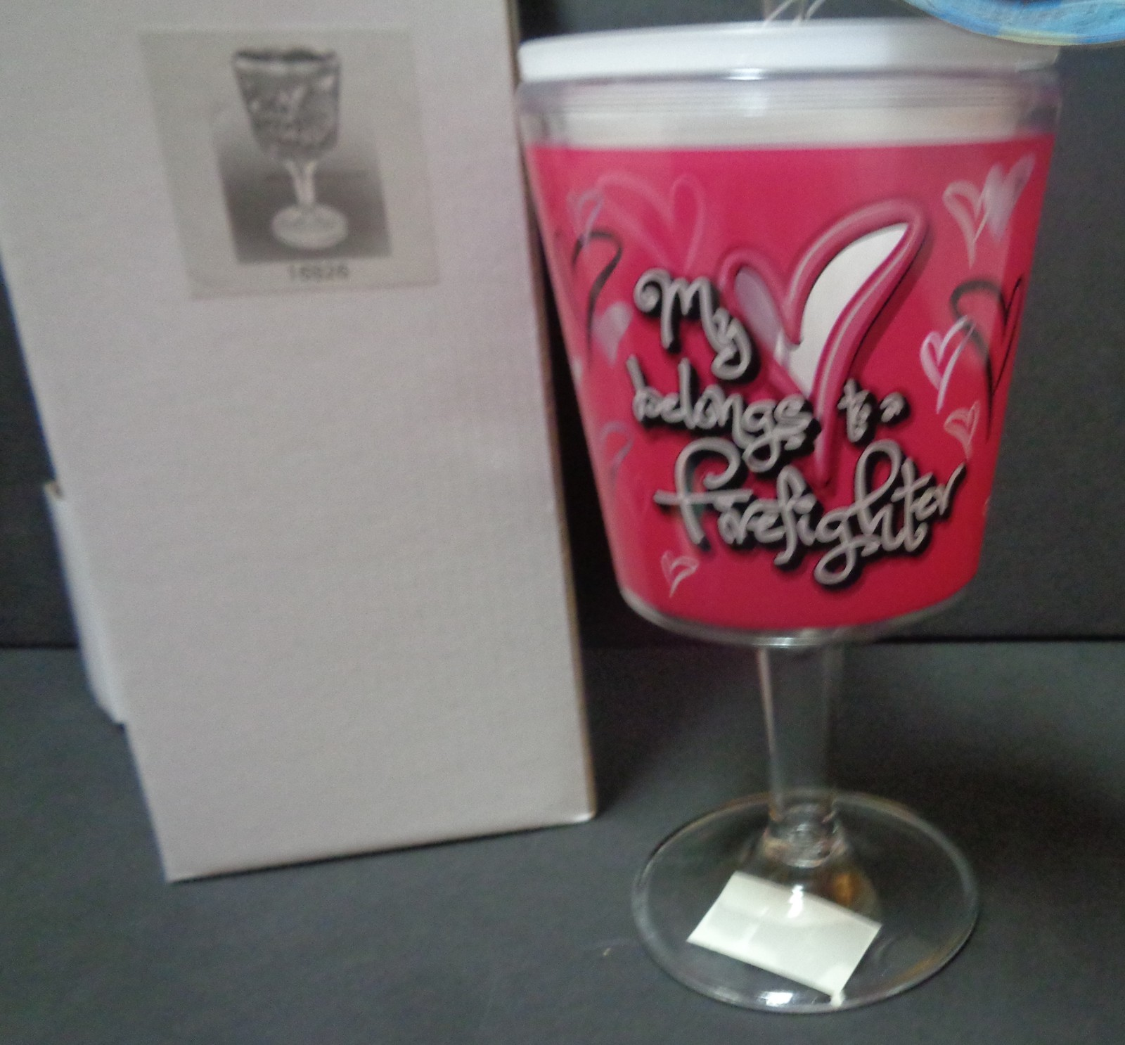 Spoontiques My Heart Belongs To A Fire Fighter NIB 12oz. Acrylic Wine Goblet