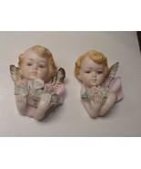 BEAUTIFUL PAIR 1950s NAPCO Japan Pastels Porcelain Angels Angel Face Wal... - $49.91